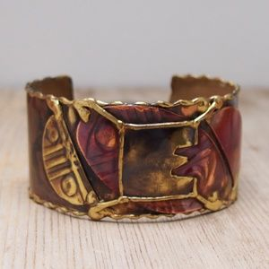 Patinaed Rustic Copper Brass Inlay Cuff Bracelet